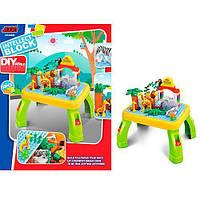 Детский конструктор зоопарк на 55 деталей со столом 2в1. Развивающий подарок детям от 2 лет