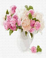 Картина по номерам Brushme Нежный букет цветов 40х50 см, вертикальная. Живопись по номерам Пионы сложность 3