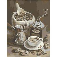 Картина по номерам натюрморт Утренний кофе Идейка 40х50 см, сложность 3. Оригинальные подарки детям и взрослым