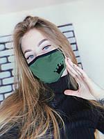 Маска защитная тканевая черно-зеленая,многоразовая с рисунком