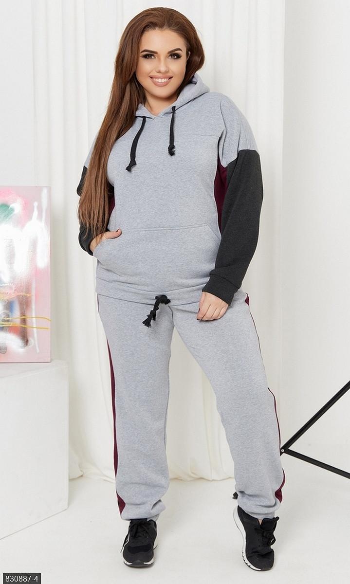 Спортивный костюм  трикотажный  серый Осень Украина 48-50 большого размера 830887-4
