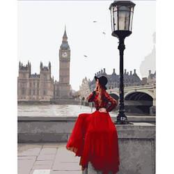 Картина по номерам Девушка в пасмурном Лондоне 50х40см Brushme