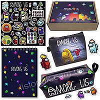 Бокс Амонг Ас (пенал, блокнот, кошелек, наклейки) отличный подарок любителям игры Among Us
