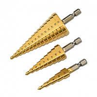 Ступенчатые сверла по металу набор из 3 штук сталь HSS S&R