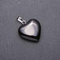 "Кулон из натурального камня черный агат люкс ""Сердце"", 28х19х19мм"