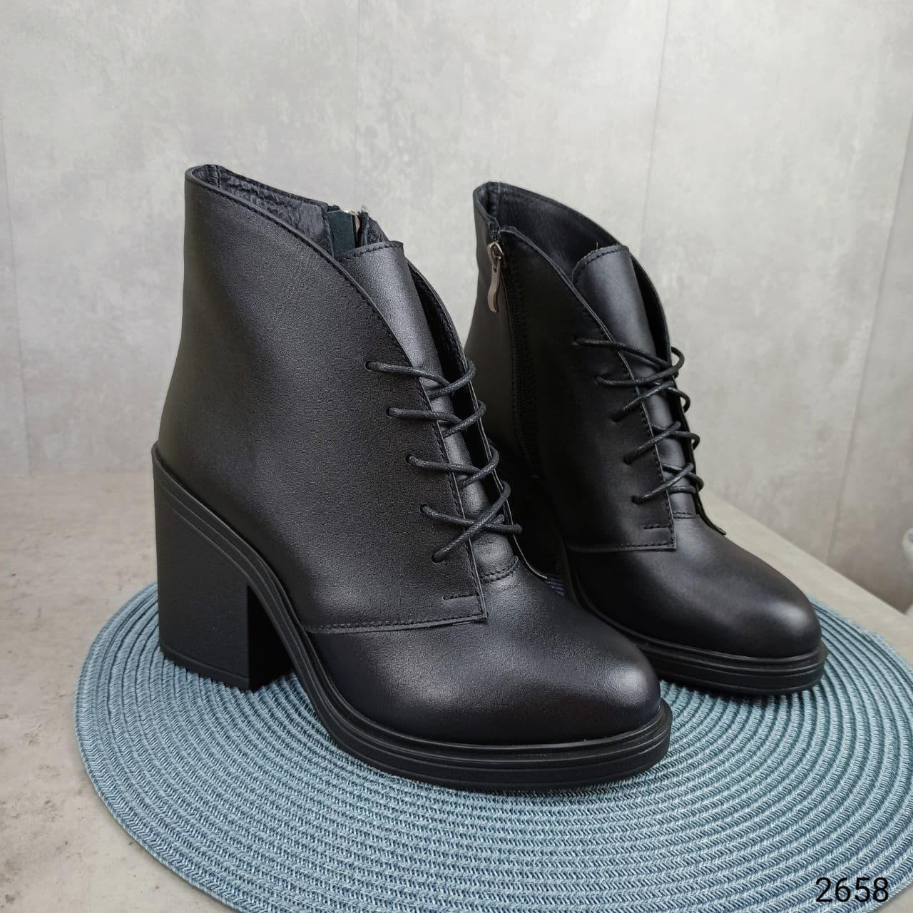 36 р. Ботинки женские зимние зима черные кожаные на высоком каблуке из натуральной кожи натуральная кожа