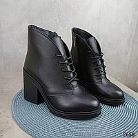 36 р. Ботинки женские зимние зима черные кожаные на высоком каблуке из натуральной кожи натуральная кожа, фото 1