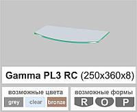 Стеклянная полка радиусная Commus PL3 RC (250х360х8мм), фото 1