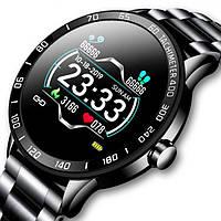 Мужские стильные умные смарт часы, Smart Lige Omega Black, с сенсорным экраном
