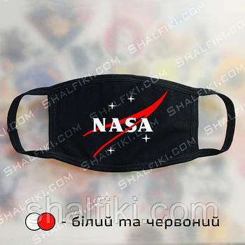 """""""NASA / НАСА красный"""" черная защитная маска с принтом - белый и красный"""