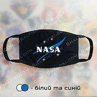 """""""NASA / НАСА синий"""" черная защитная маска с принтом - белый и синий"""
