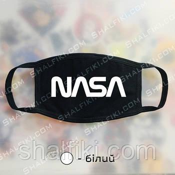"""""""NASA / НАСА"""" черная защитная маска с принтом - белый"""