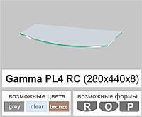 Полиці скляні настінні навісні радіусні Commus  PL4 RC (280х440х8мм), фото 1