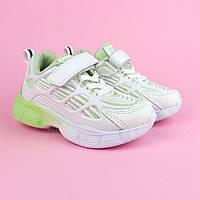 Кроссовки девочке белые с салатовай подошвой тм Том.м размер 27,28,29,30,31