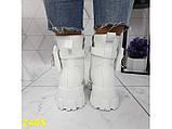 Ботинки на высокой тракторной подошве белые демисезон с портупеей 40 р. (2405), фото 2