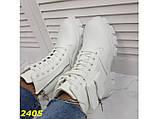 Ботинки на высокой тракторной подошве белые демисезон с портупеей 40 р. (2405), фото 7