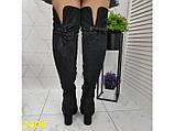 Чоботи-панчохи ботфорти класика замшеві на широкому товстому каблуці 36, 38, 40 р. (2409), фото 6