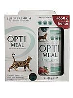 Сухой корм Optimeal (Оптимил) для кошек стерилизованныхиндейка овес  0,65 кг + 0,65 кг