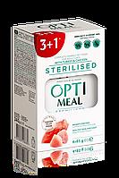 Влажный корм Optimeal (Оптимил) пауч для кошек стерилизованных индейка куриное филе в соусе 85гр Набор (3+1)