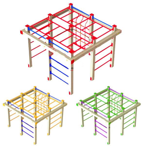 """Гімнастичний комплекс """"Дитячий лаз"""" DIO662 для спортивного майданчика. Куб зі шведських сходів. Турніки."""