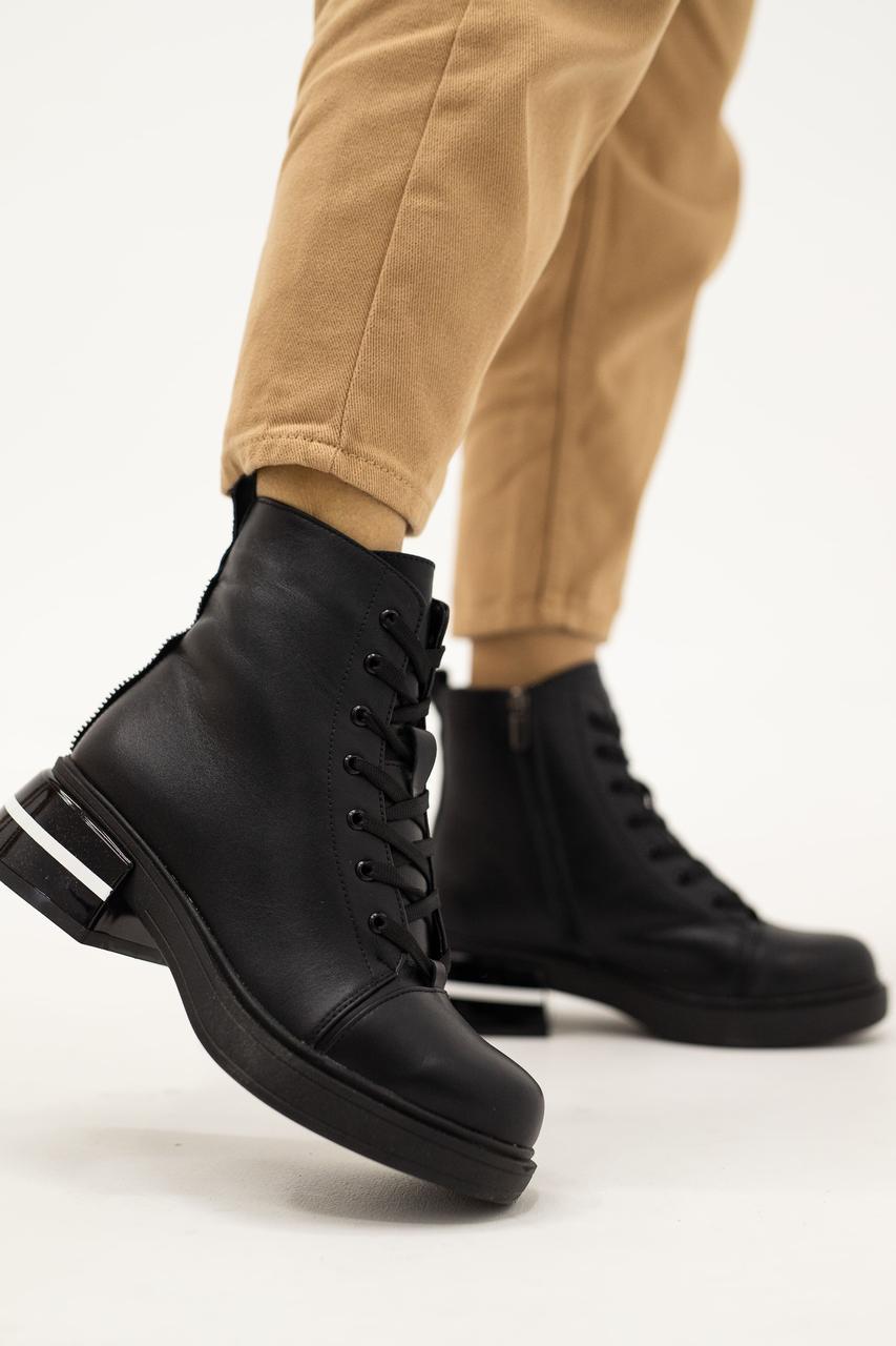 Женские ботинки кожаные зимние черные Vladeks 1387