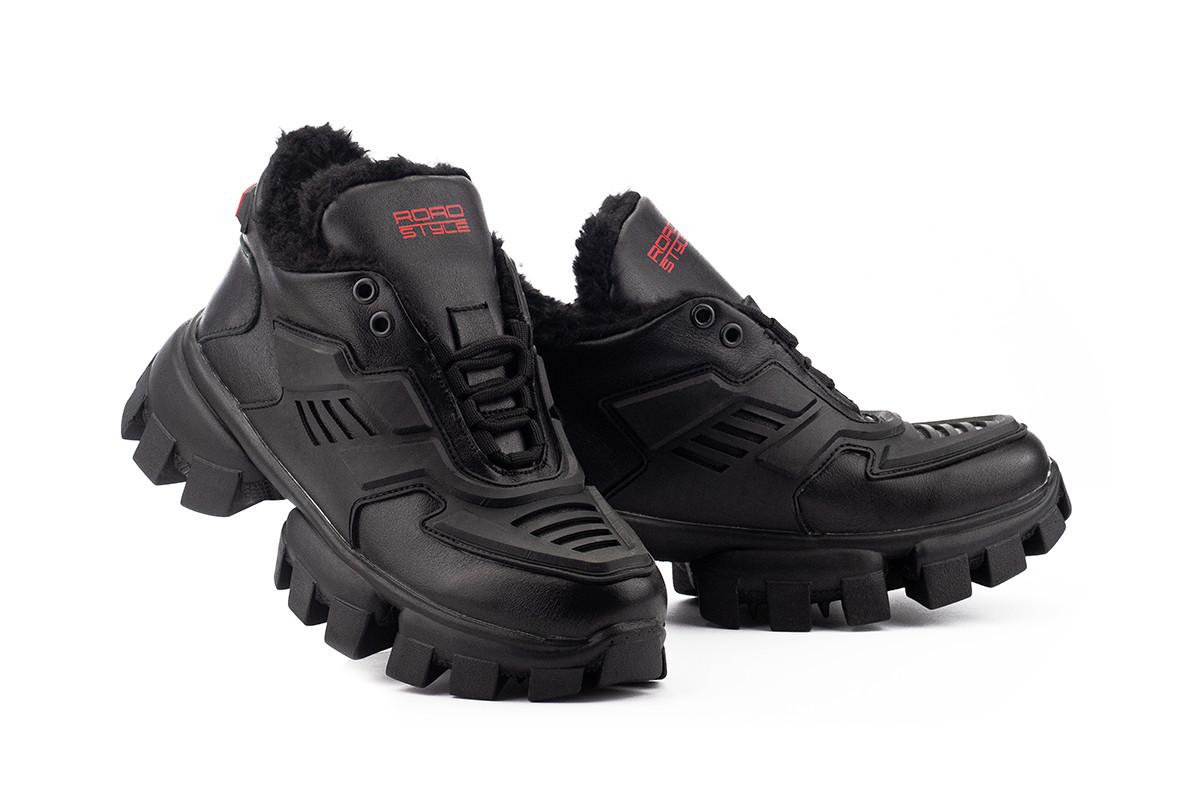 Женские ботинки кожаные зимние черные Road-style БС-121 01К