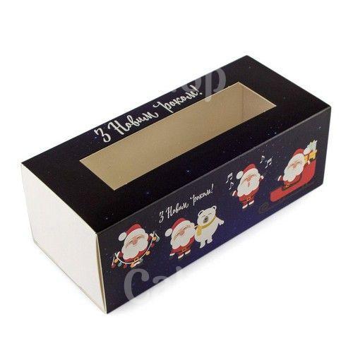 Коробка для макаронс, конфет, безе с прозрачным окном  Дед Мороз синяя, 14х5х6 см