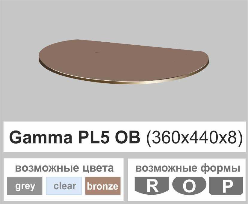 Скляна поличка настінна навісна овальна Commus PL5 OB (360х440х8мм)