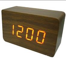 Часы настольные VST 863-3 Оранжевая подсветка Коричневый