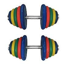 Гантелі набірні покриті гумою 2 штуки різнокольорові загальна вага 25 кг AJTY-25