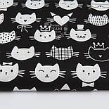 """Лоскут ткани """"Котики в шляпах и коронах"""", белые на чёрном, № 1020, размер 40*80 см, фото 2"""