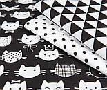 """Лоскут ткани """"Котики в шляпах и коронах"""", белые на чёрном, № 1020, размер 40*80 см, фото 4"""