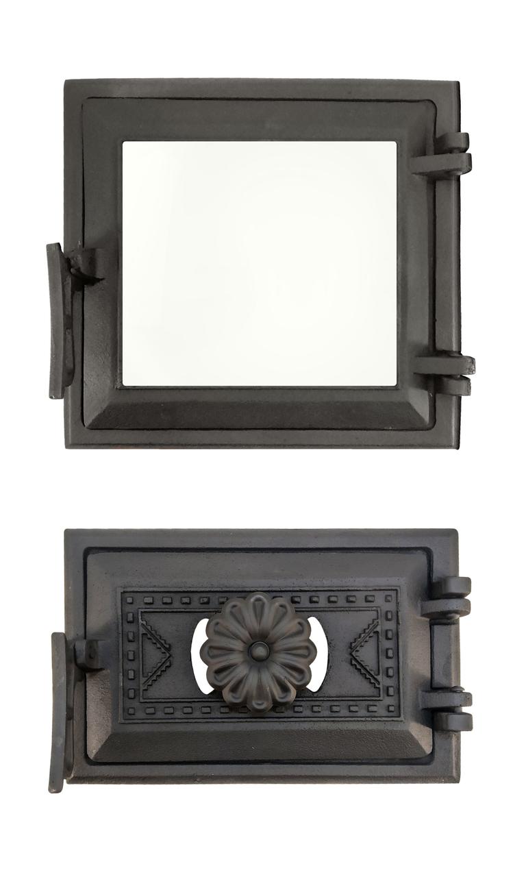 Дверца печная со стеклом 102874К, 265х250 мм