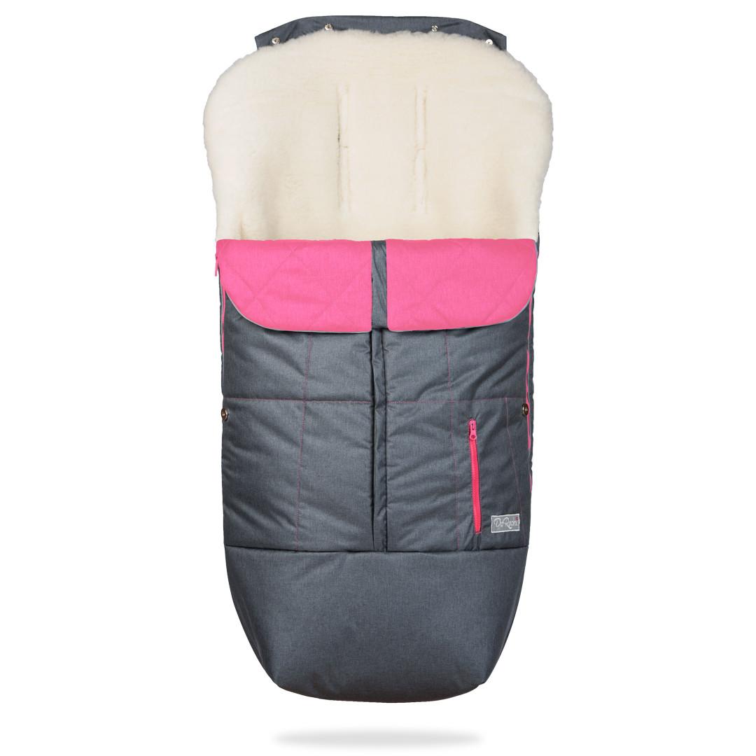 Зимний конверт в коляску на натуральной овчине, меховой чехол для коляски Trend серый с розовым