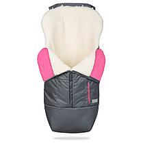 Зимний конверт в коляску на натуральной овчине, меховой чехол для коляски Trend серый с розовым, фото 2