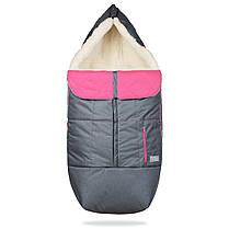 Зимний конверт в коляску на натуральной овчине, меховой чехол для коляски Trend серый с розовым, фото 3