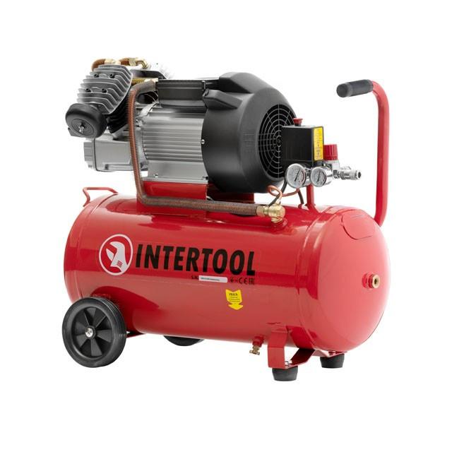 Компрессор 50 л, 4 HP, 3 кВт, 220 В, 8 атм, 420 л/мин, 2 цилиндр. INTERTOOL PT-0007