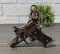 Зажигалка в виде пистолета бронзовая, фото 1