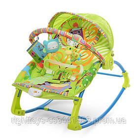 Шезлонг-качалка детский PK-306-5 (1шт) муз, вибро, 2пол.спин.дуга с подвеск,3-х точ.ремн, зеленый