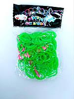 Резинки для плетения браслетов зеленые 200шт