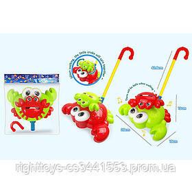 Каталка 0503 (72шт) на палке, краб20см, подвиж.детали, муз-механич, 2цвета, в кульке, 20-22-12см