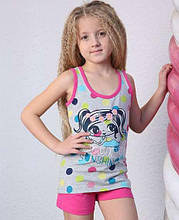 Домашняя одежда для девочки шортики и маечка оптом