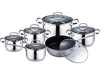 Кухонный набор кастрюль посуды для кухни кухонной посуды Wellberg Legend 12 предметов