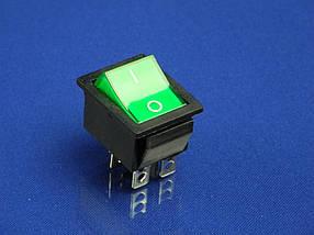 Кнопка зеленая на 2 положения KCD2 (250V, 15A, 4 контакта)