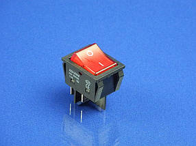 Кнопка  красная на два положения KCD4-201N-B (250V, 30A, 4 контакта)