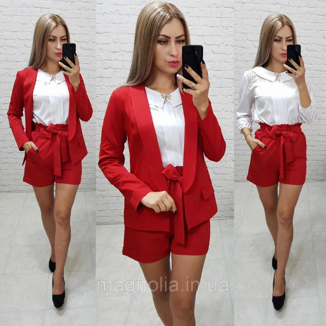 Костюм двойка Khan classic арт. 3 ( жакет+шорты ) красный