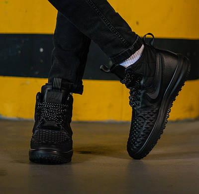 Кроссовки мужские Nike Lunar Force 1 Duckboot Black 2017 Найк Лунар Форс 1 Дакбут Черные