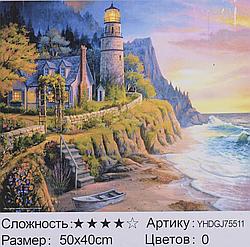 Картина по номерам + Алмазная мозаика 2в1 YHDGJ 72017 (30) 50х40см Павлин Морской пейзаж