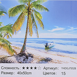 Картина по номерам + Алмазная мозаика 2в1 YHDGJ 72017 (30) 50х40см Павлин Море