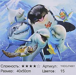 Картина по номерам + Алмазная мозаика 2в1 YHDGJ 72017 (30) 50х40см Павлин Морские жители